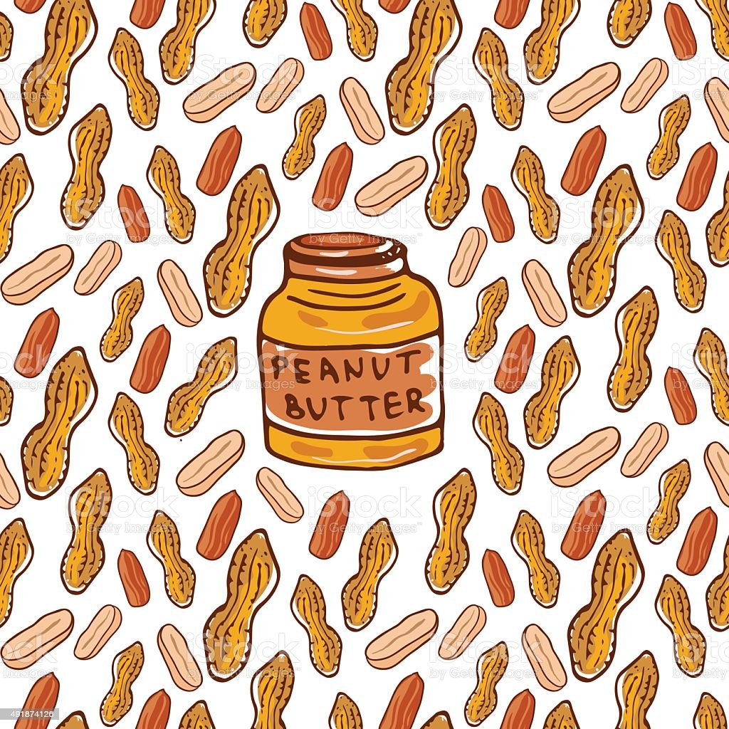 Cute seamless pattern with peanuts and butter jar. Sketched nuts vector art illustration