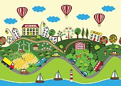 Cute seamless pattern with summer city. Town on hills