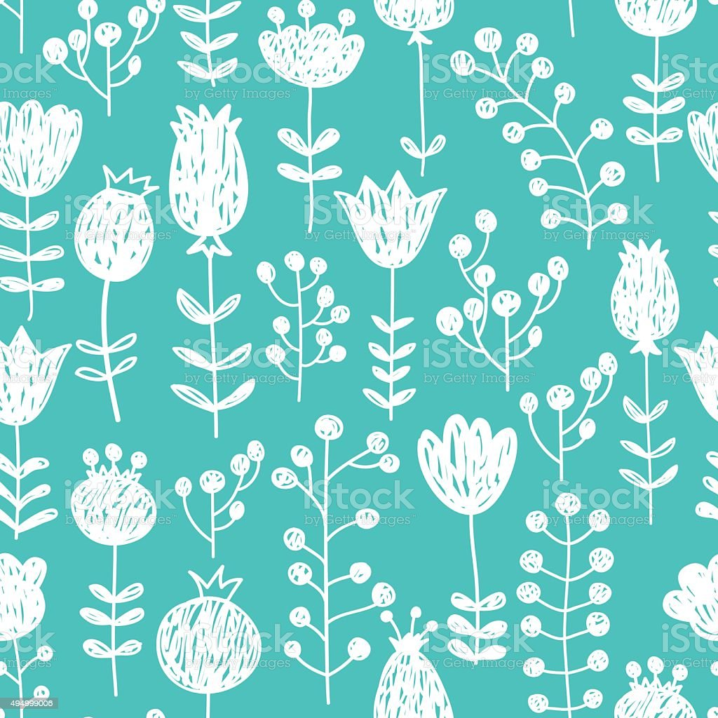 Cute seamless vector pattern with blue background and white flowers vector art illustration