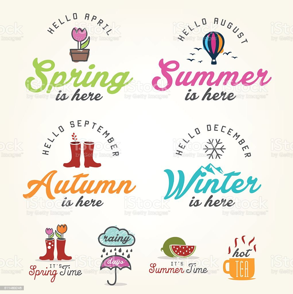 Cute Seasons Illustrations and Badges Set vector art illustration