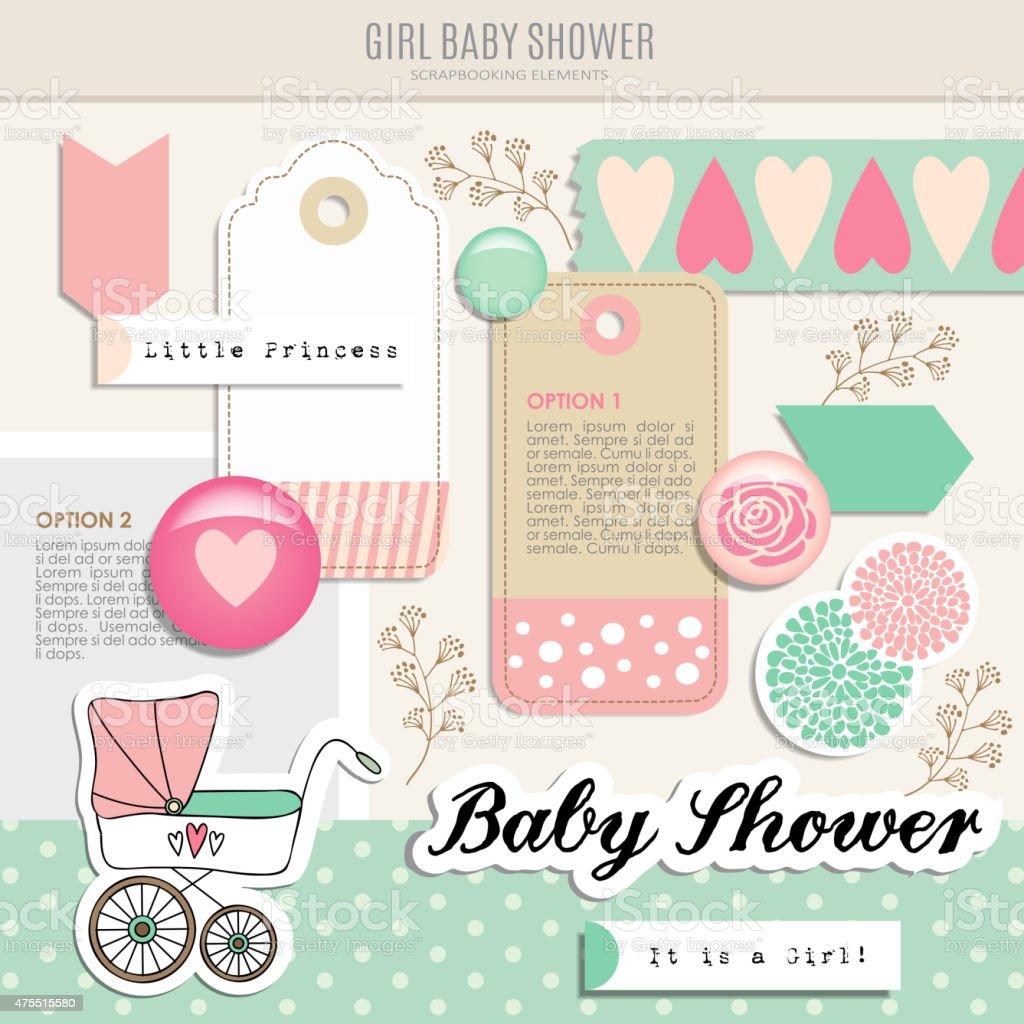 Cute set of baby shower scrapbooking elements, vector vector art illustration