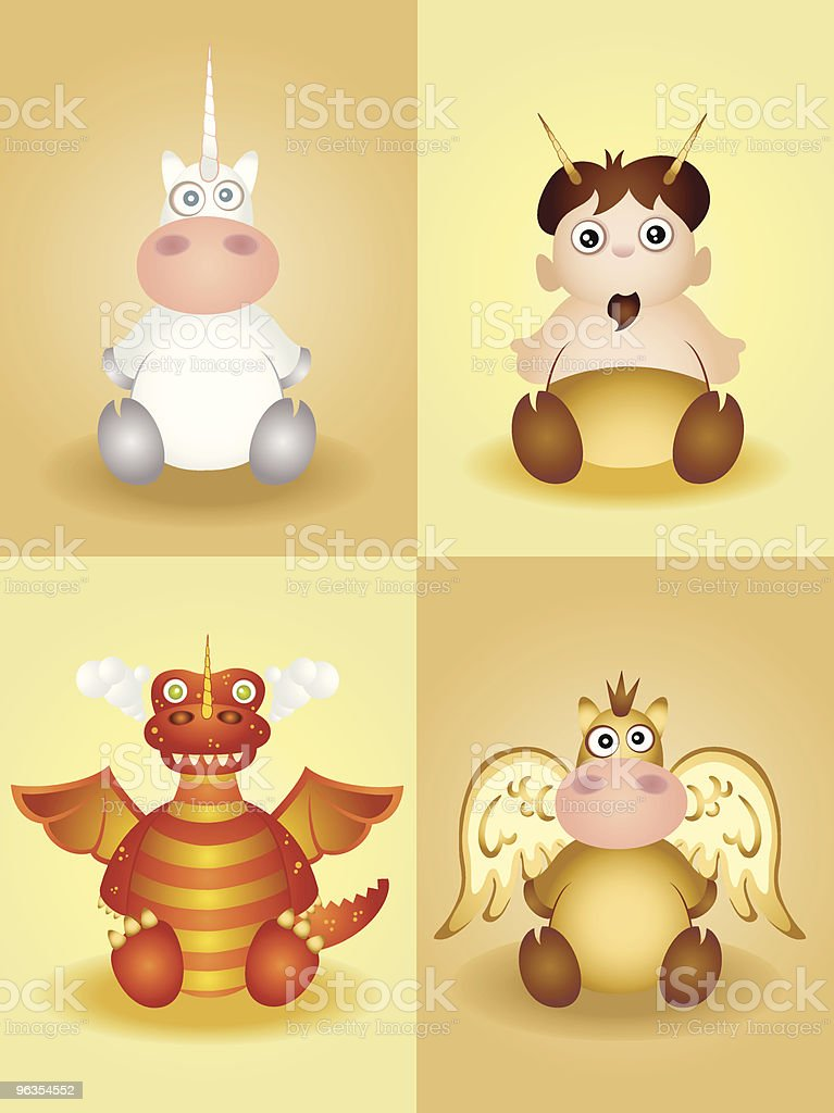 Cute set of Mythical Creatures royalty-free stock vector art