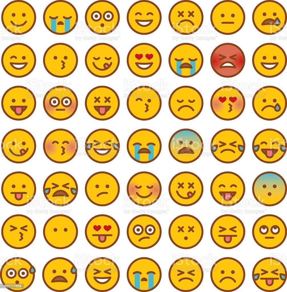 Cute Set of Simple Emojis vector art illustration