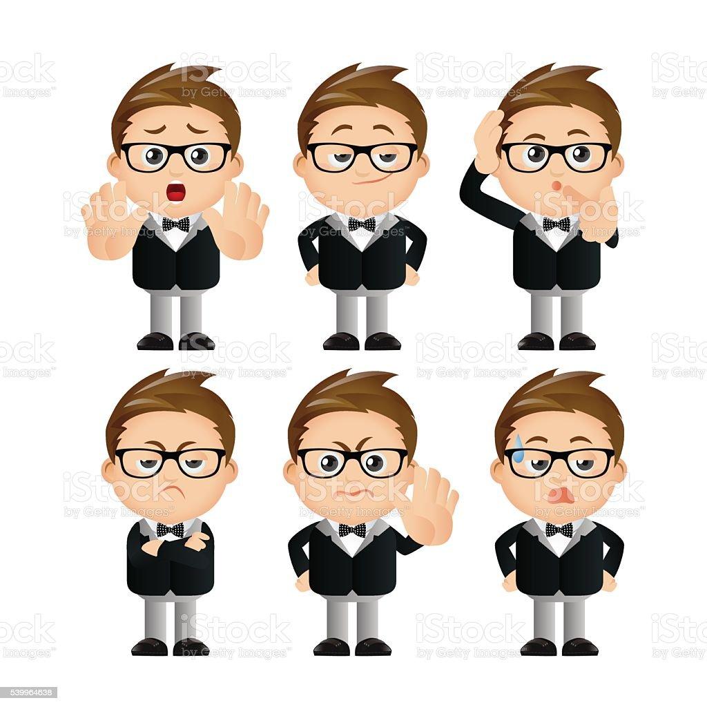 Cute Set - Set of businessman character vector art illustration