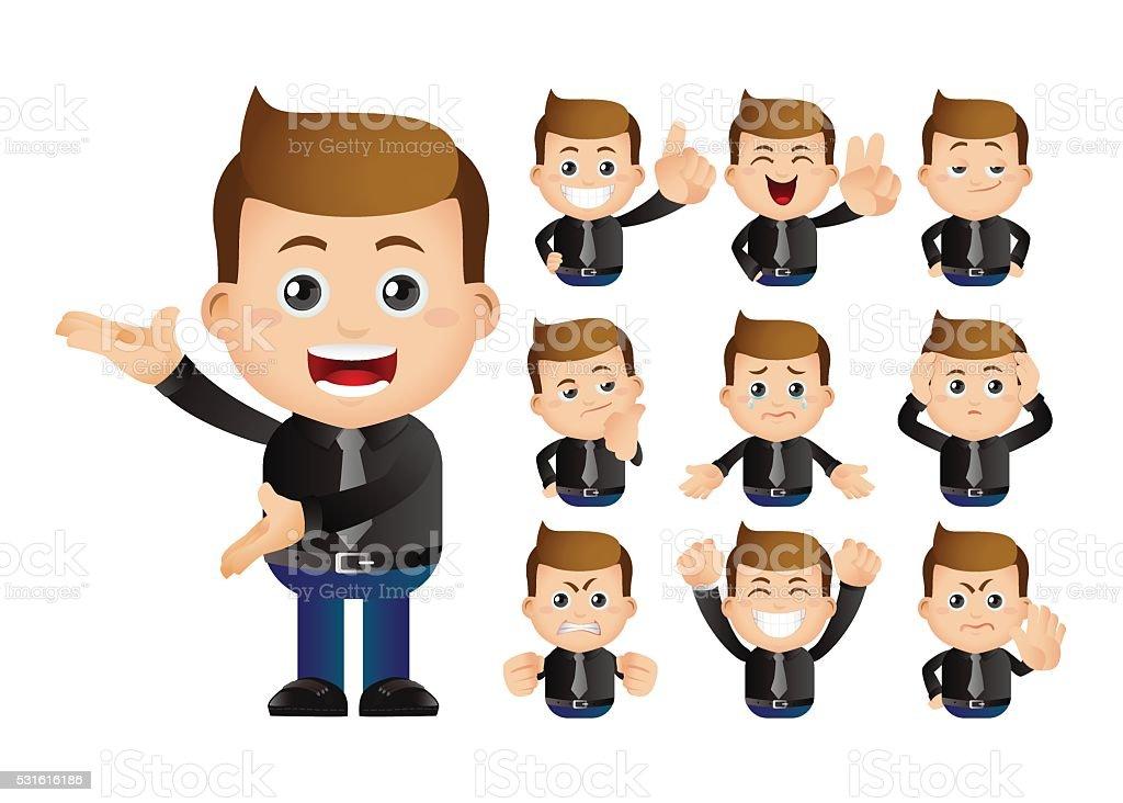 Cute Set - Set of businessman vector art illustration