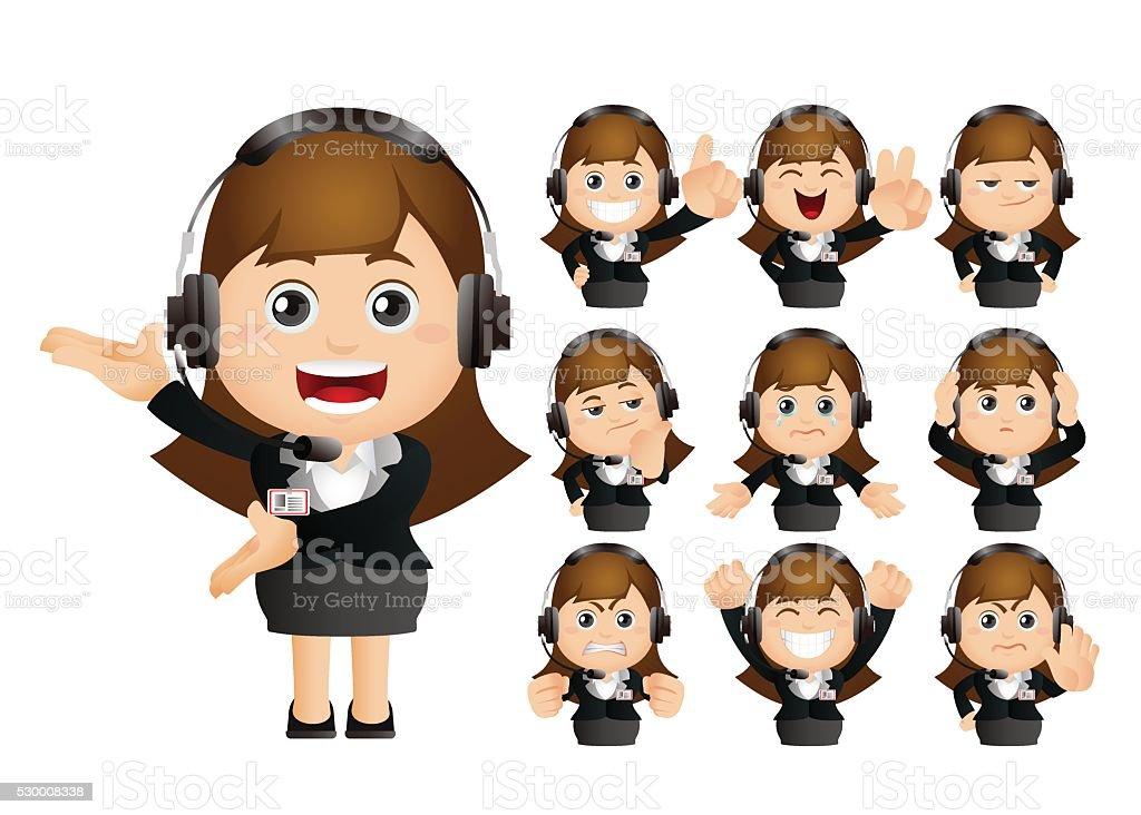 Cute Set - Set of customer service vector art illustration