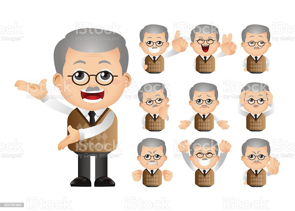 Cute Set - Set of old people vector art illustration