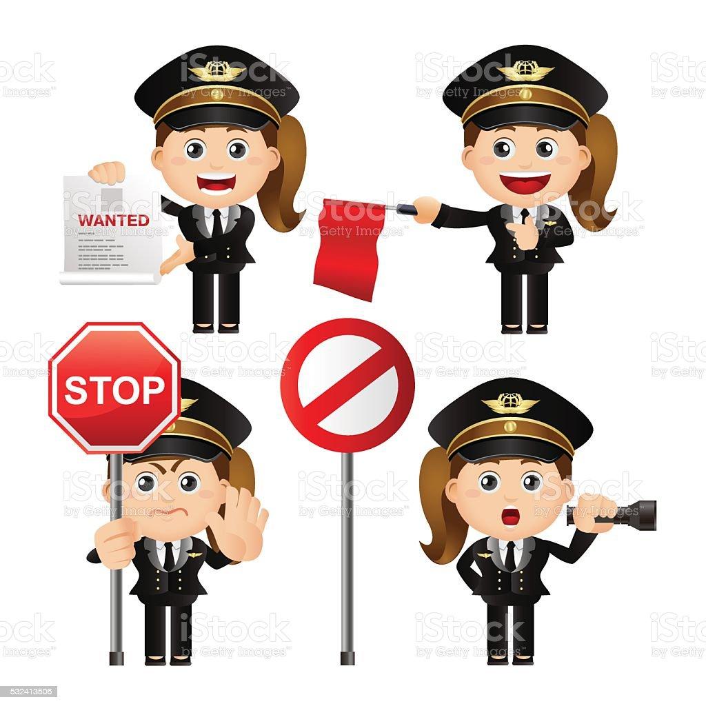 Cute Set - Set of policeman vector art illustration