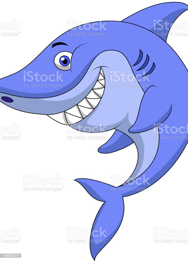 Cute shark cartoon vector art illustration
