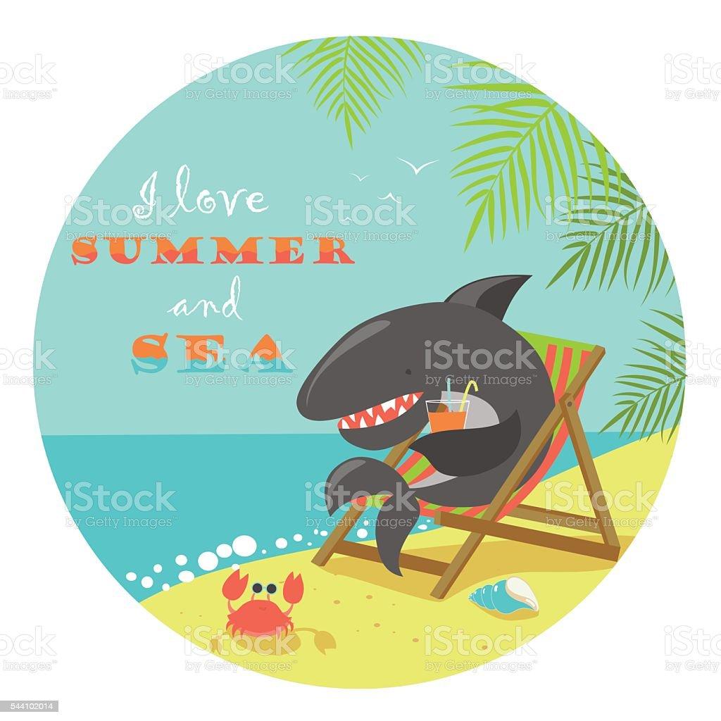Cute shark sunbathing on deck chair vector art illustration