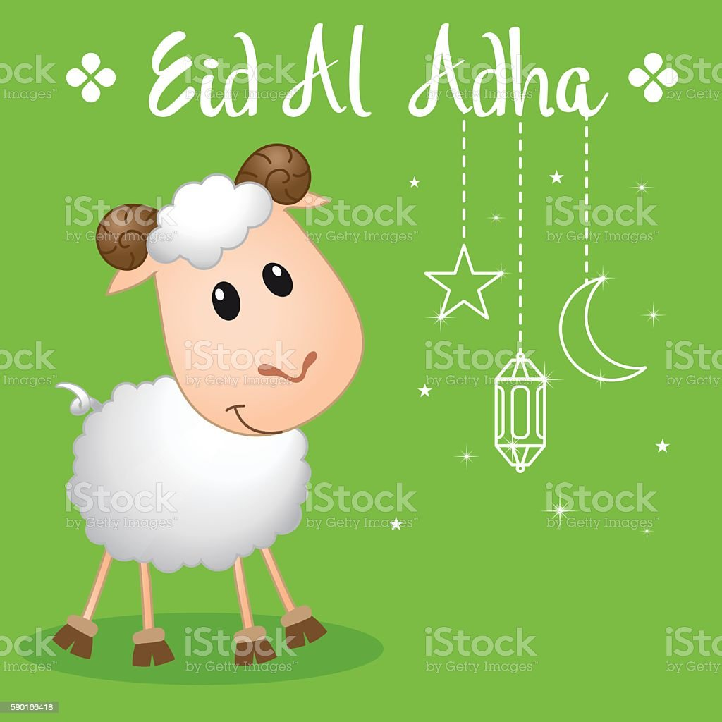 cute sheep design for eid al adha greeting vector art illustration