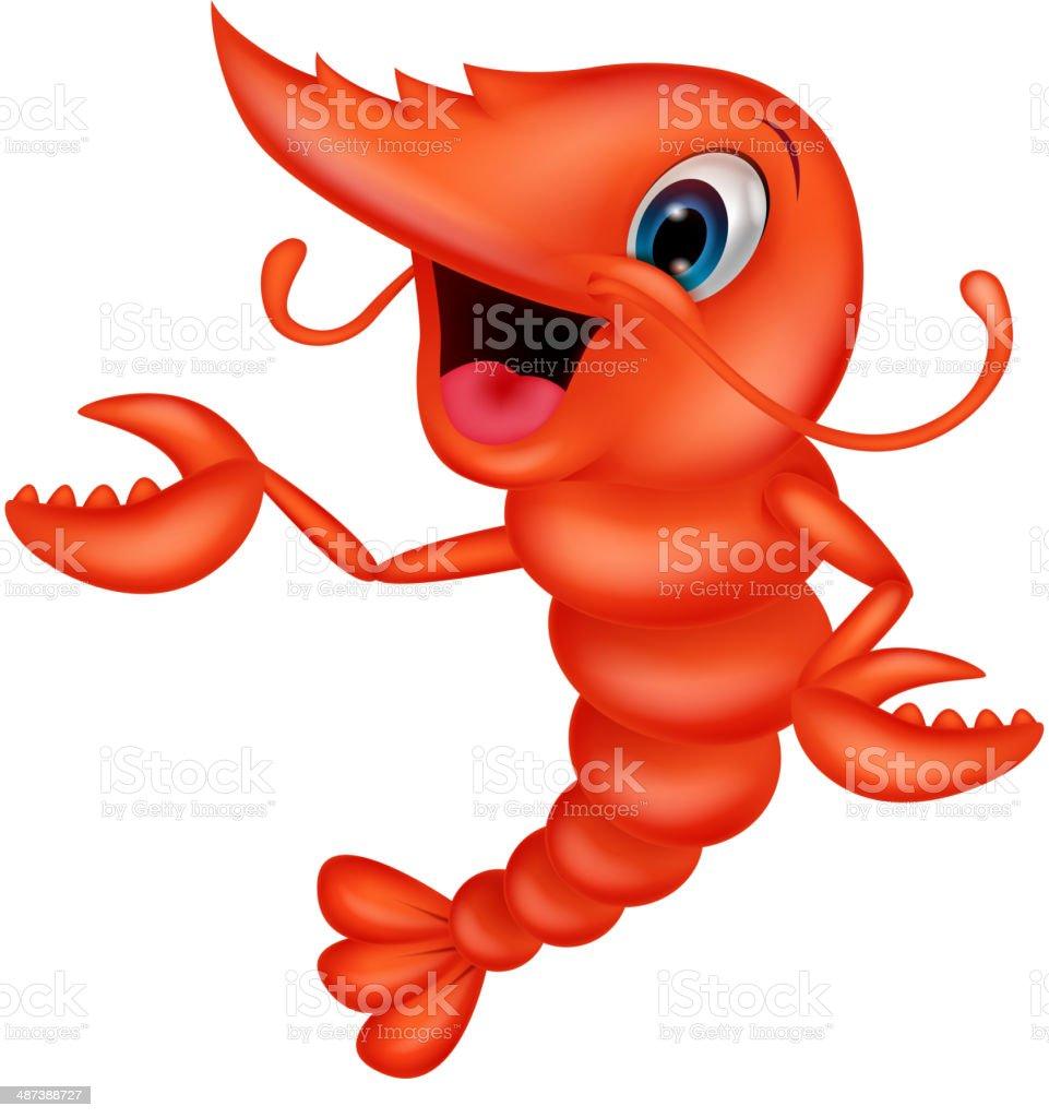 Cute shrimp cartoon presenting royalty-free stock vector art