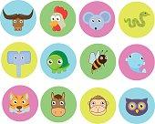 Cute simple animal set icons
