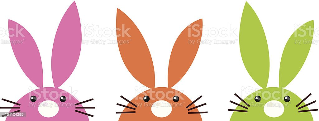 Cute simple easter bunnies set isolated on white vector art illustration