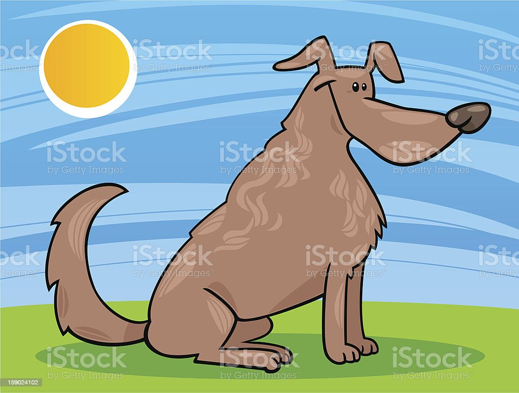 cute sitting dog cartoon illustration royalty-free stock vector art