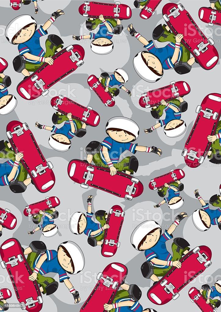 Cute Skateboarder Pattern vector art illustration