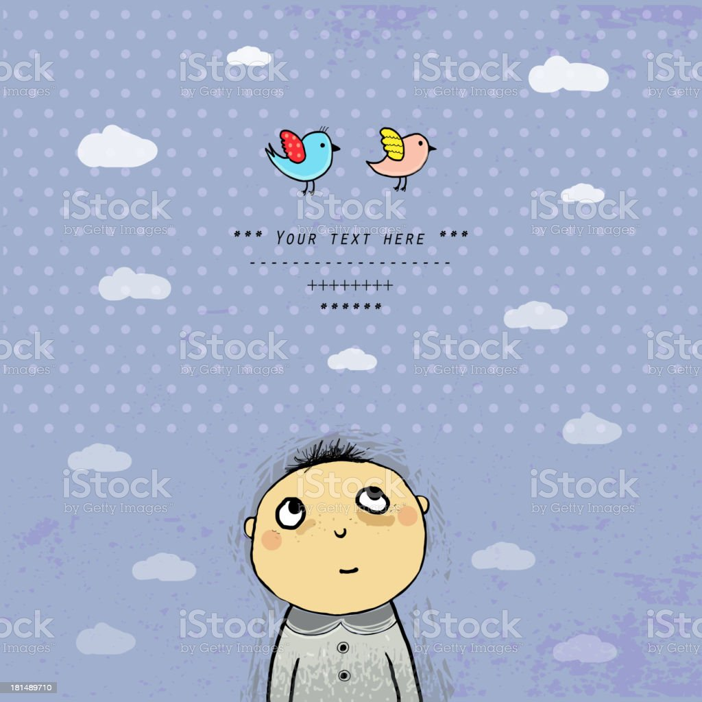 Cute sketch with a shy kid. royalty-free stock vector art