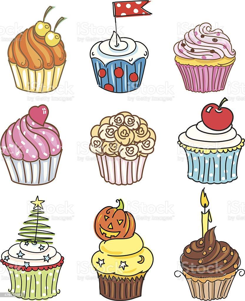 Cute Sketchy Cupcakes Set royalty-free stock vector art