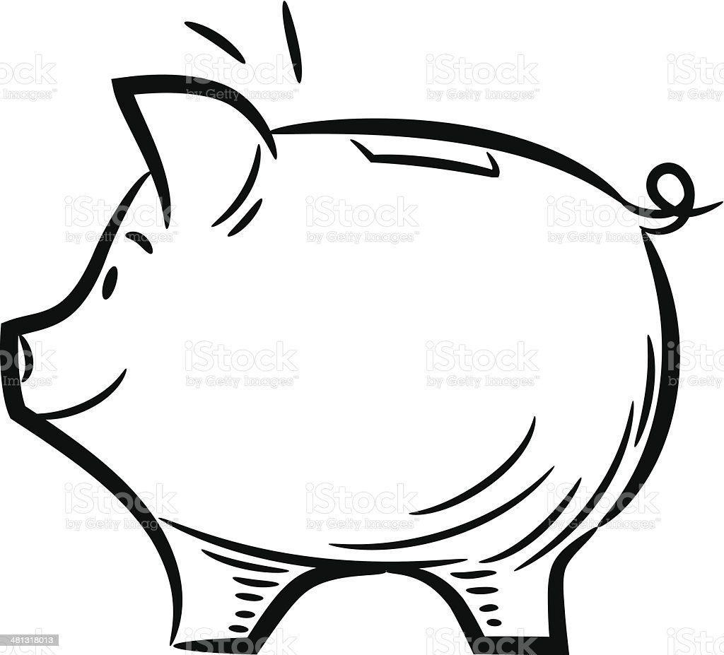 Line Drawing Piggy Bank : Cute sketchy piggy bank stock vector art istock