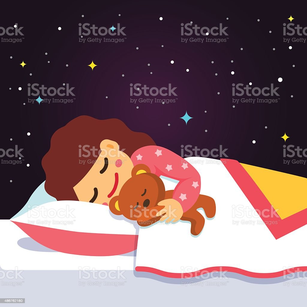 Cute sleeping and dreaming girl with teddy bear vector art illustration