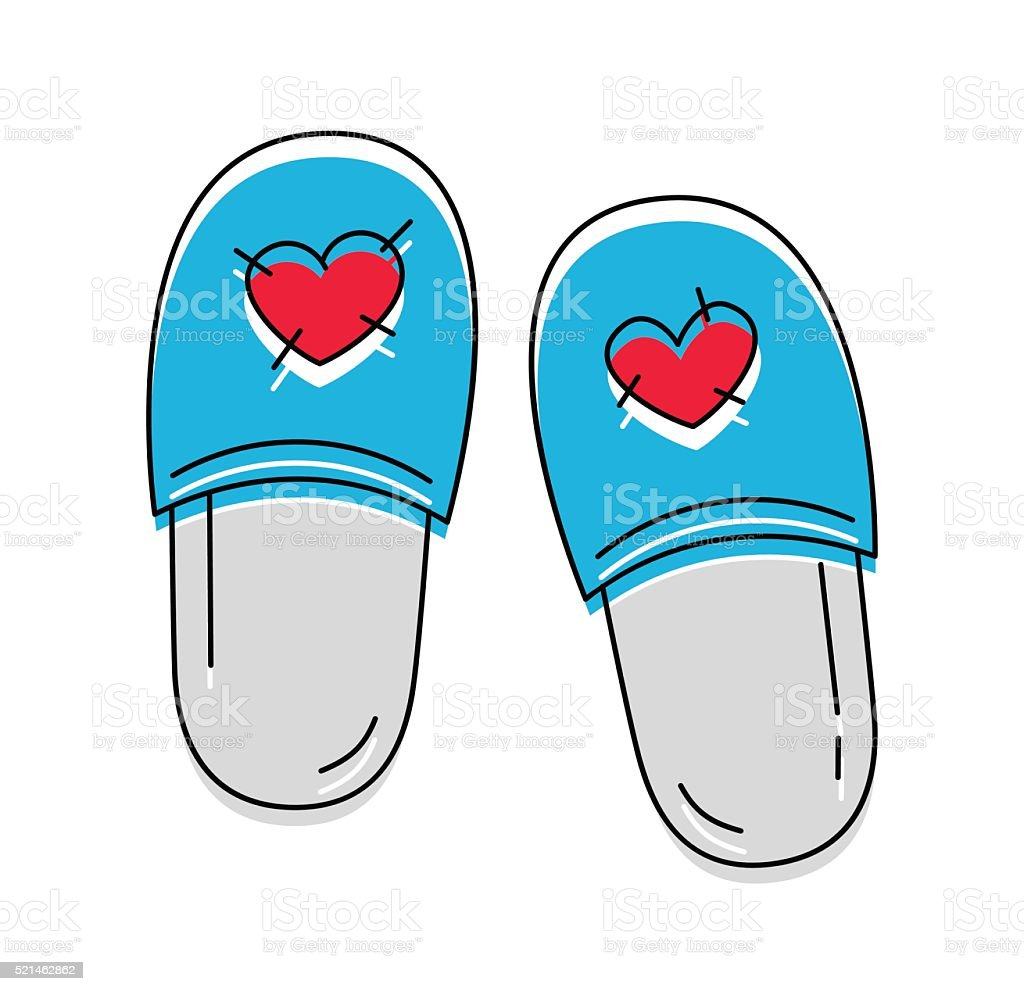 Cute slippers with hearts icon on the white background. Vector vector art illustration