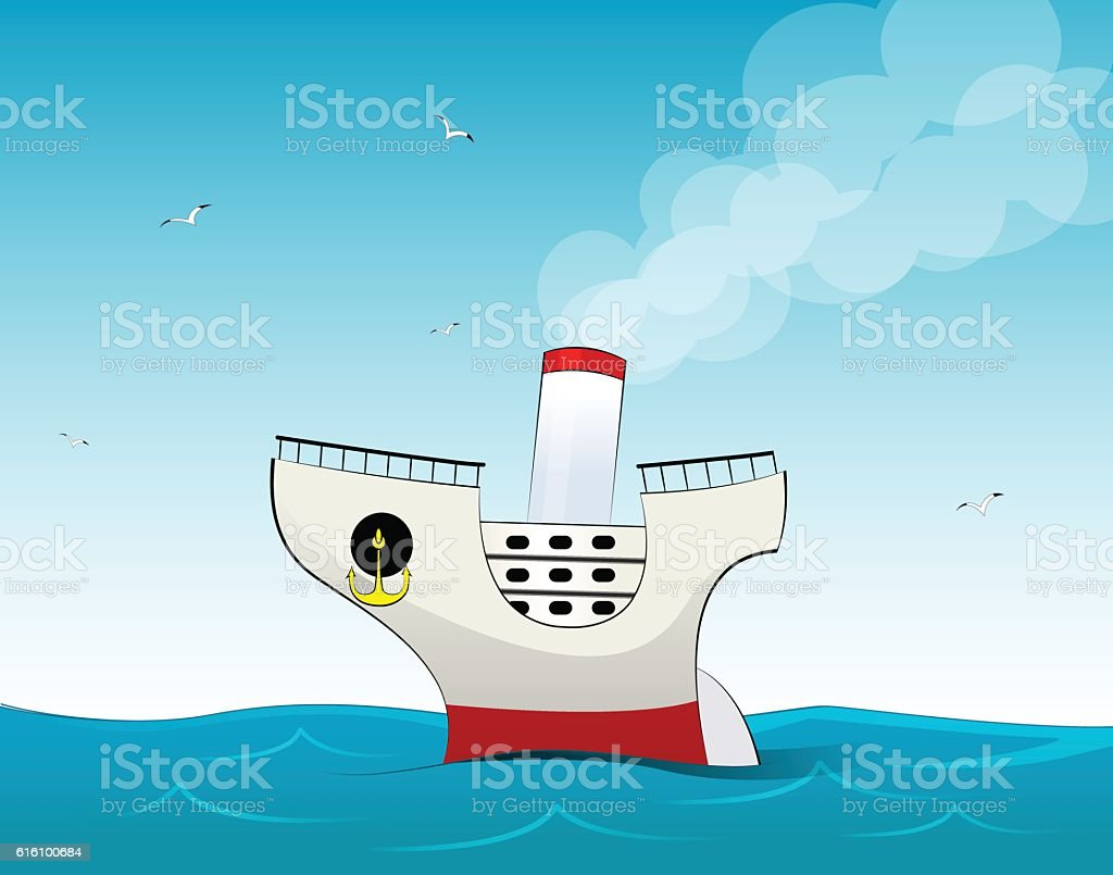 Cute small cartoon cruise liner vector art illustration