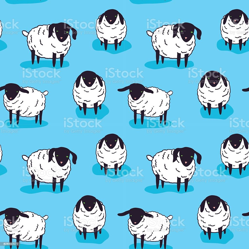 Cute small sheep illustration - seamless pattern, kawaii style vector art illustration