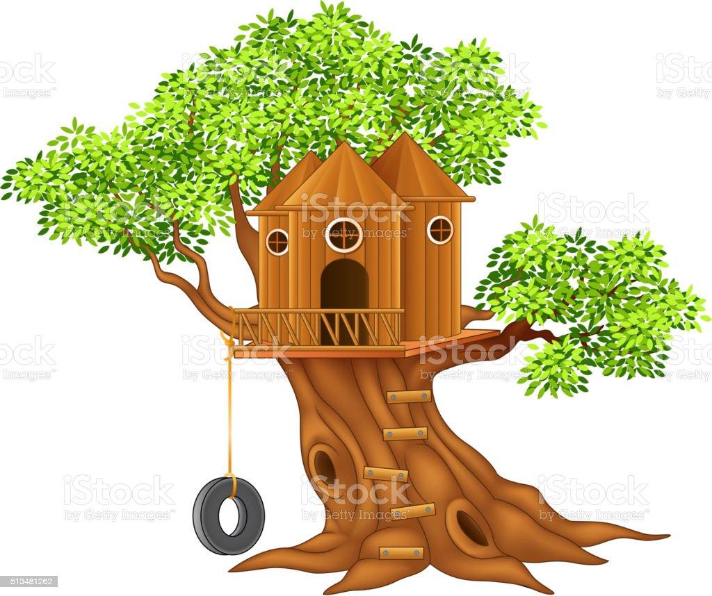Cute small tree house vector art illustration