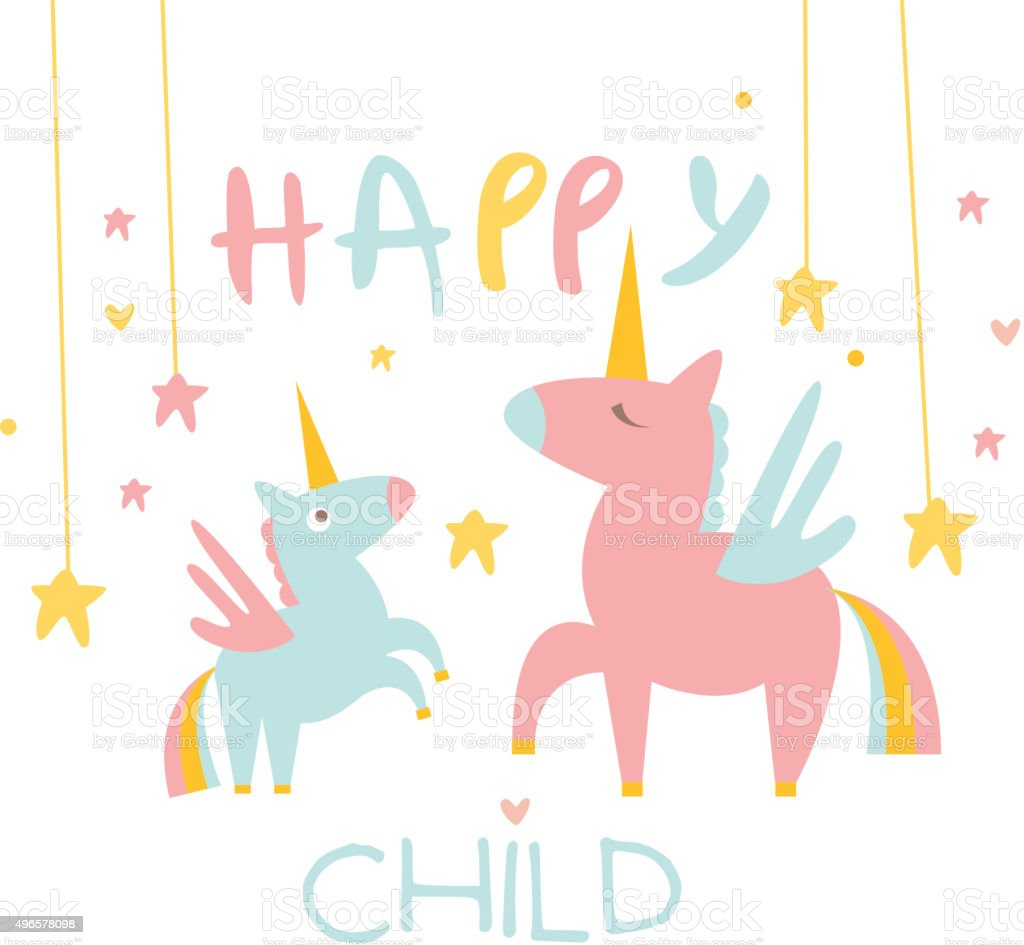 Cute Small Unicorn with Mom. Vector Illustration vector art illustration