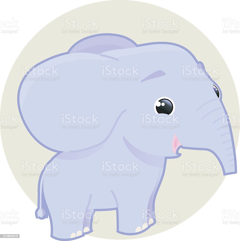 cute smiling elephant vector art illustration
