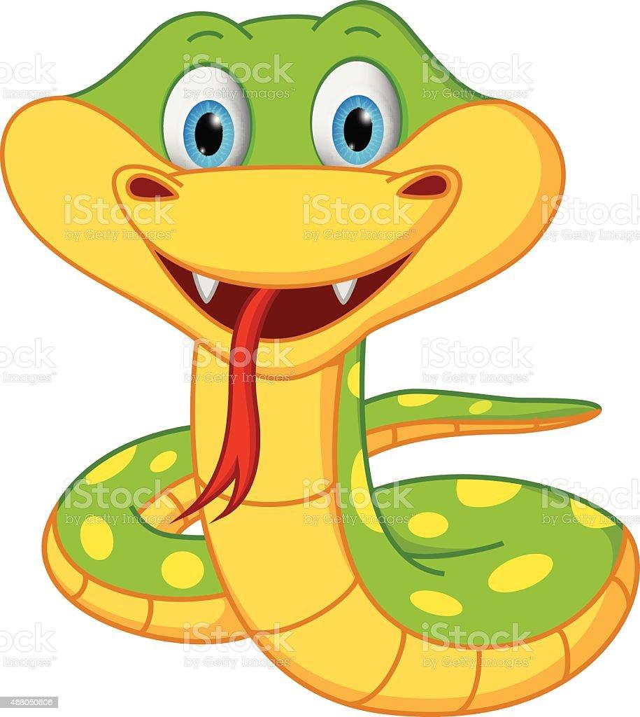 Cute snake cartoon vector art illustration