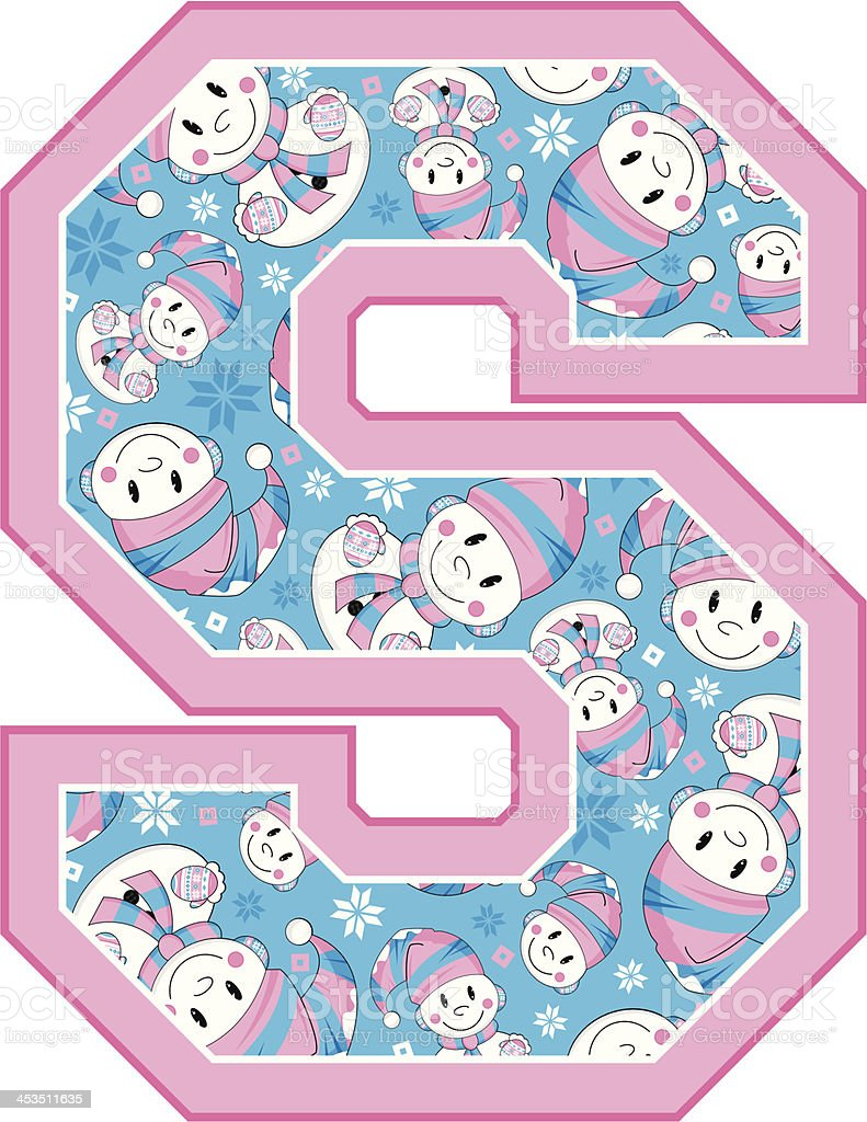 Cute Snowman Learning Letter S royalty-free stock vector art