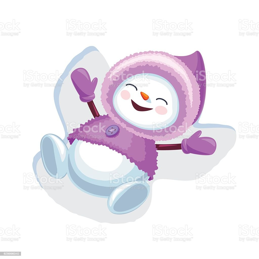 Cute snowman making snow angel isolated on white background vector art illustration