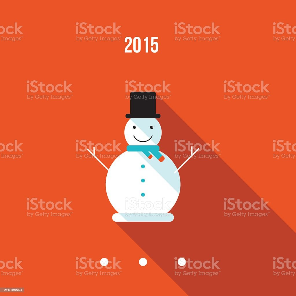 Cute snowman. Merry Christmas and Happy New Year card vector art illustration
