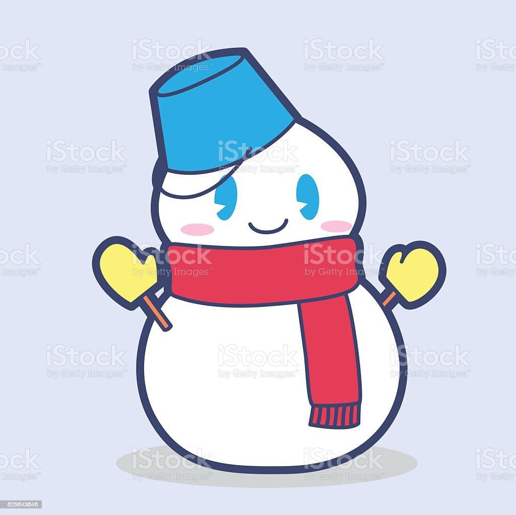 Cute snowman vector art illustration