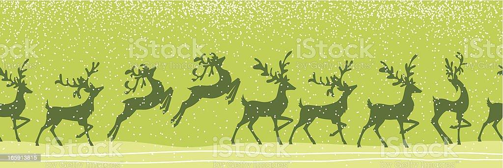 Cute Snowy Night Reindeer Pattern royalty-free stock vector art
