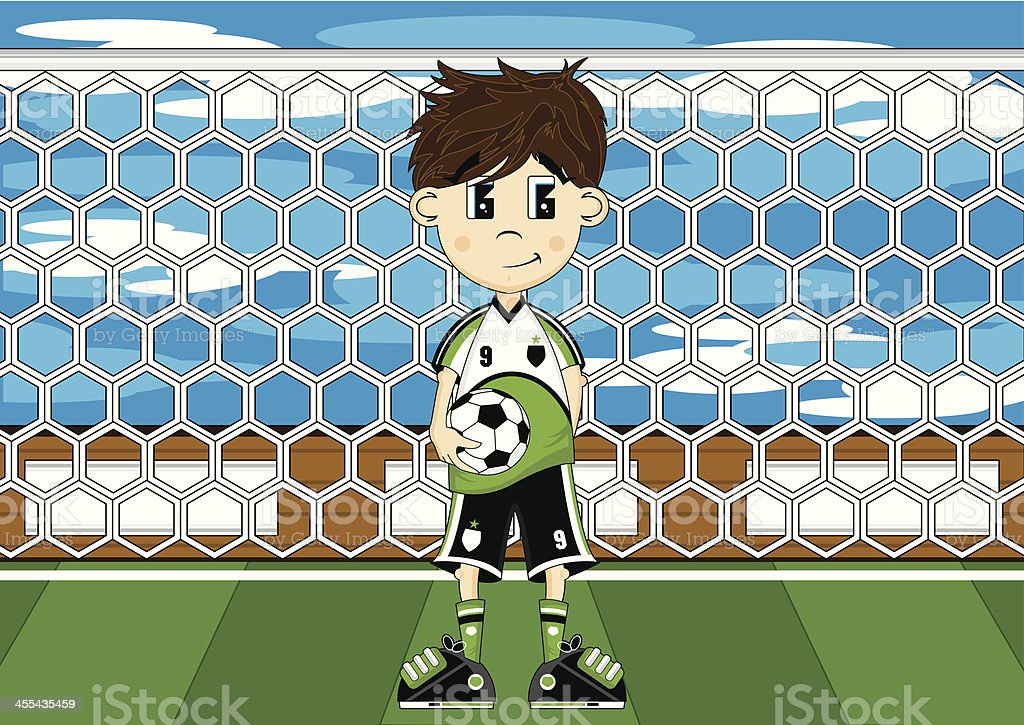 Cute Soccer Boy Scene vector art illustration