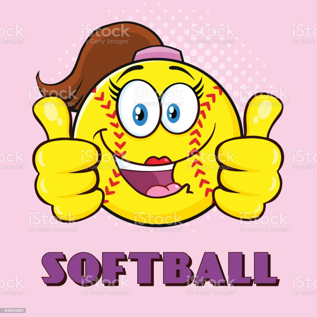 Cute Softball Girl Cartoon Character Giving A Double Thumbs Up....