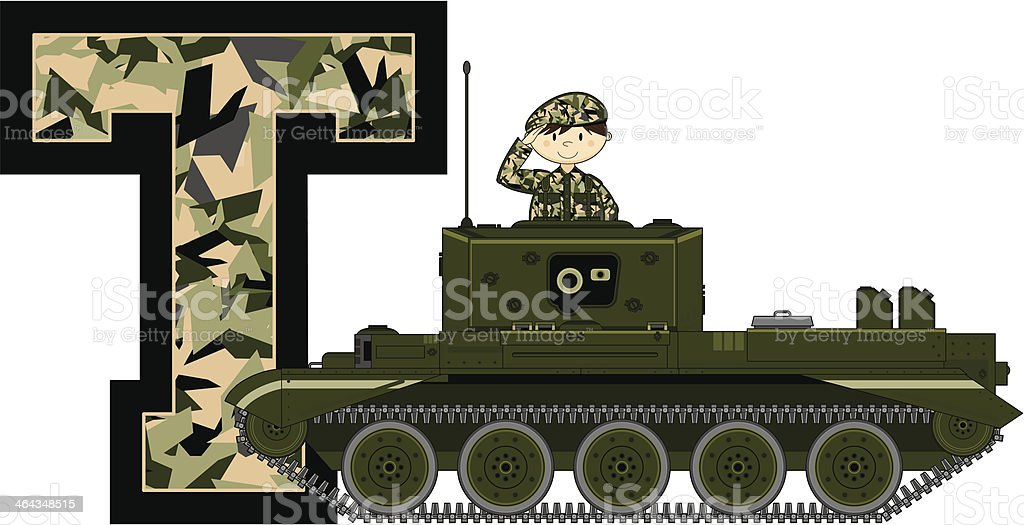 Cute Soldier & Tank Learning Letter T royalty-free stock vector art