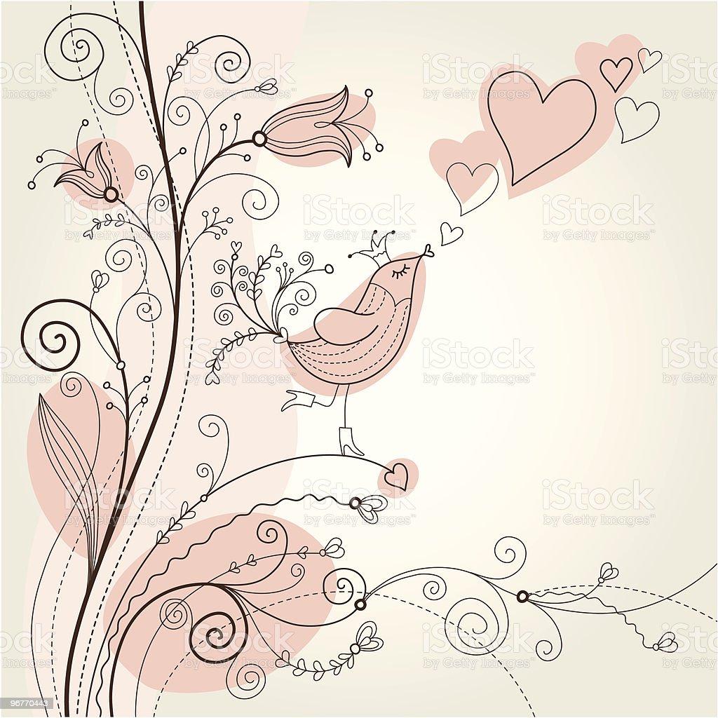 cute songbird in flowers, greeting card royalty-free stock vector art