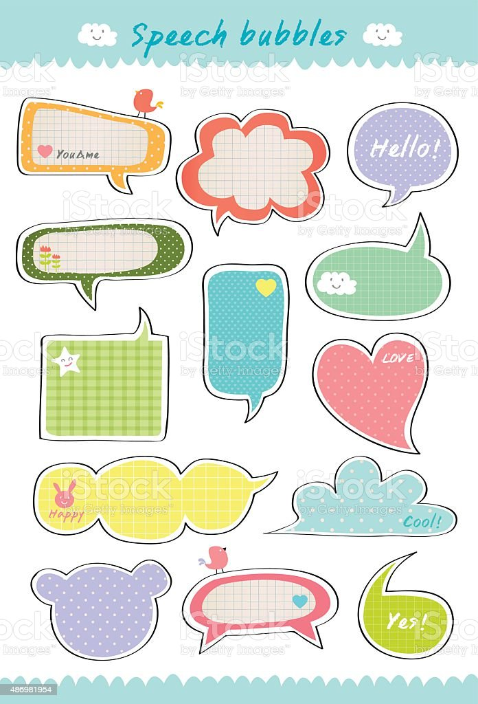 cute speech bubble hand drawn royalty-free stock vector art