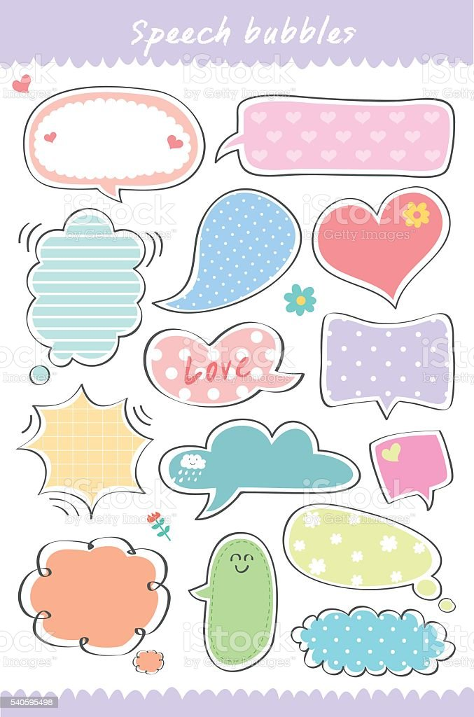 Cute Speech bubbles collection vector illustration royalty-free stock vector art