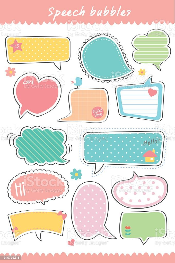 Cute Speech bubbles hand drawn collection vector royalty-free stock vector art