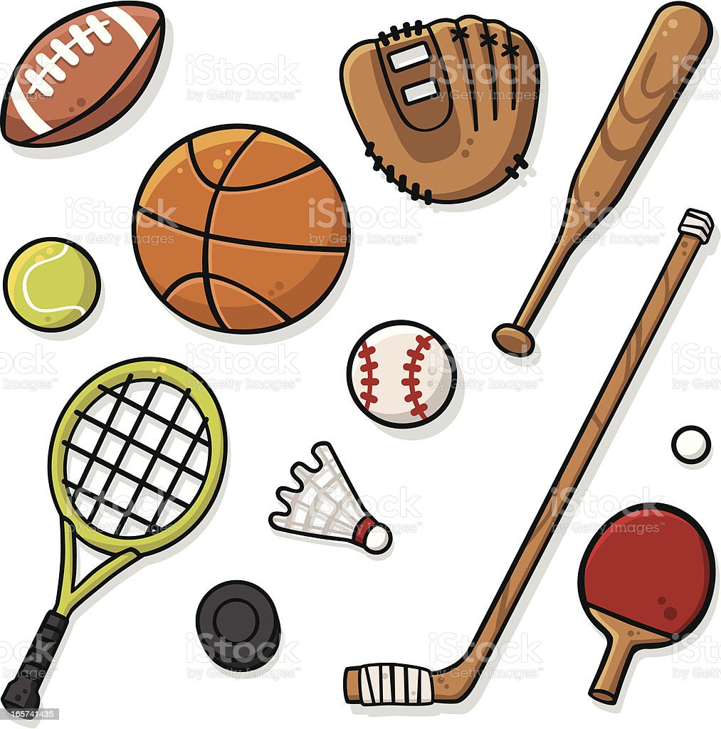 Cute Sports Equipment vector art illustration