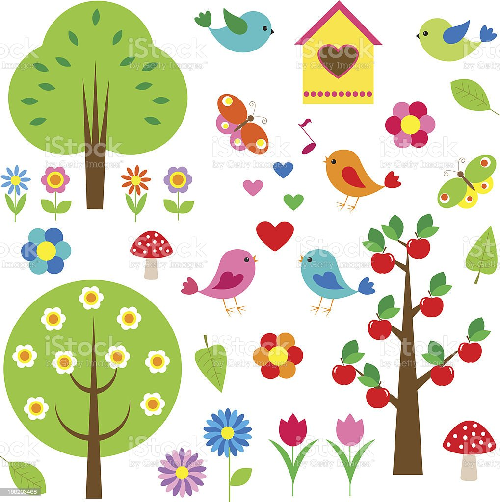 Cute Spring and Summer elements royalty-free stock vector art