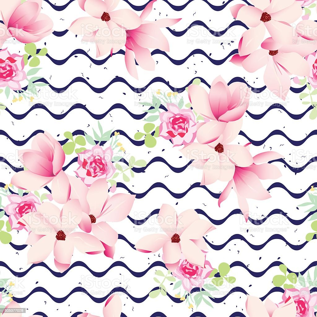 Cute spring flower - Cute Spring Flowers And Navy Waves Seamless Vector Print Royalty Free Stock Vector Art