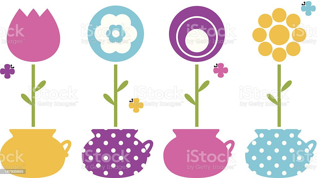 Cute spring flowers in flower pots isolated on white royalty-free stock vector art