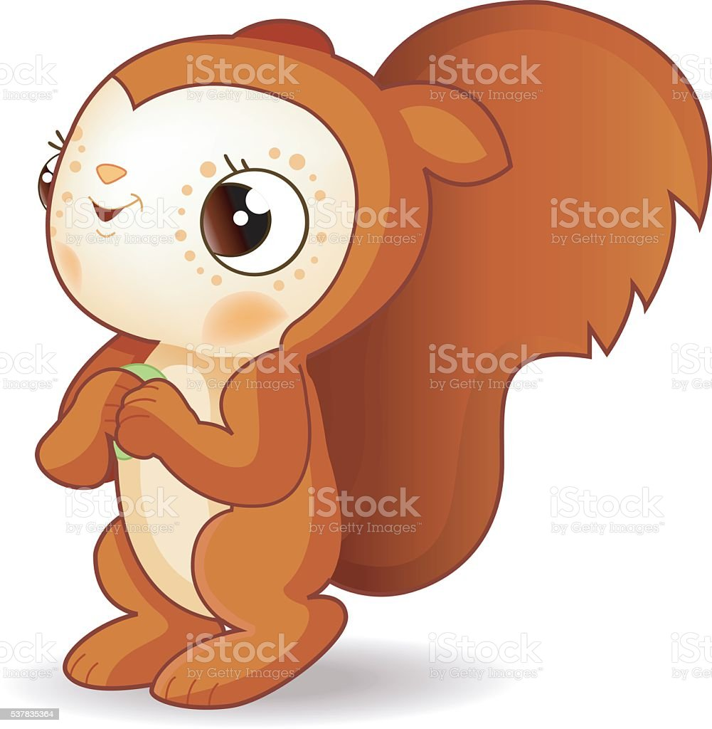 cute squirrel with food vector art illustration