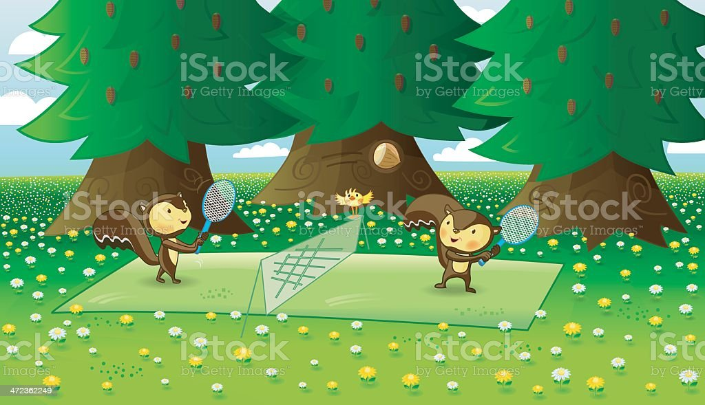 cute Squirrels are playing tennis (details/flowers). royalty-free stock vector art