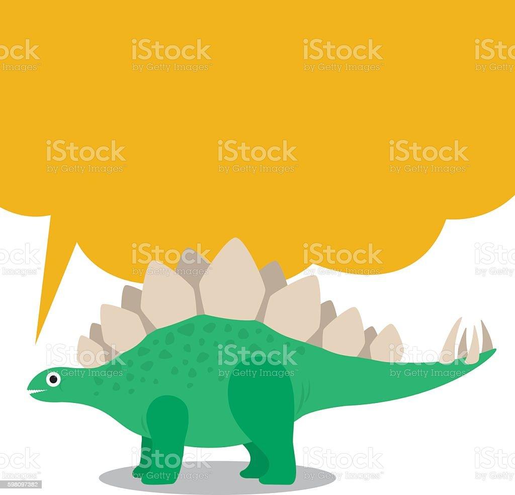 Cute Stegosaurus and dialog box vector art illustration